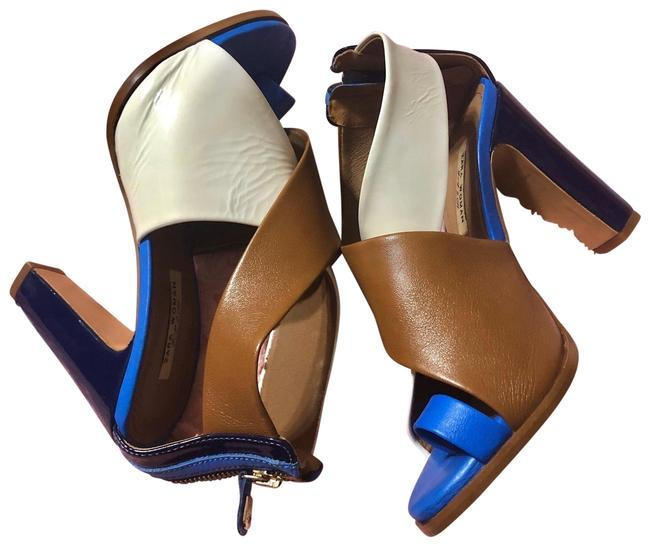 Item - Blue White & Brown Sandals Platforms Size EU 37 (Approx. US 7) Regular (M, B)