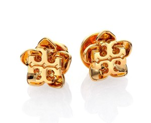 Tory Burch Tory Burch Cecily Flower GOLD Double T-Logo Stud Earrings