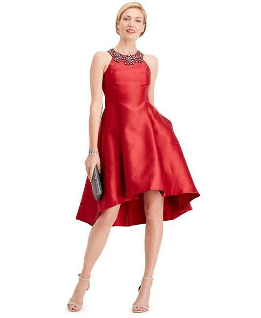 Item - Cardinal Red Rhinestone High-low Mid-length Formal Dress Size 12 (L)
