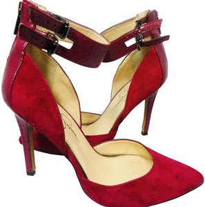 Jessica Simpson Ankle Straps Suede Pointy Toe Closed Toe Burgundy Red Pumps