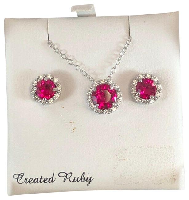 Item - Ruby and Silver Created & Cubic Zirconia Sterling Halo Set Msrp Necklace
