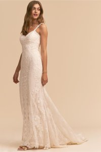 BHLDN Ivory Lace J'adore Gown Whispers & Echoes Feminine Wedding Dress Size 10 (M)