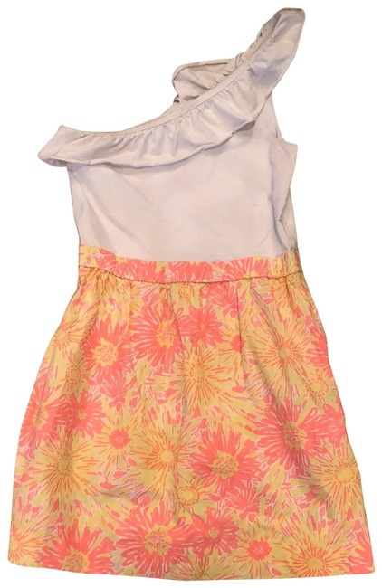Item - White Pink Yellow Neon One Shoulder Ruffled M Mid-length Short Casual Dress Size 8 (M)