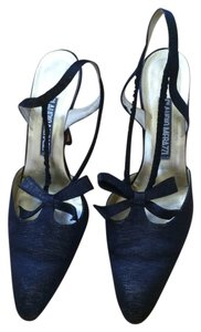Sling Back Bow Thread Black Gold Pumps