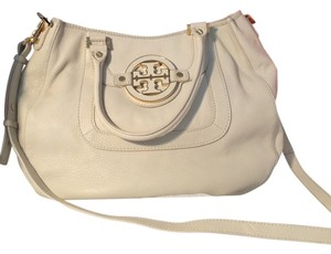 Tory Burch Leather Gold Hardware Satchel in Cream