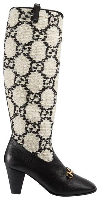Item - Black/White Zumi Gg Tweed Knee Boots/Booties Size EU 36 (Approx. US 6) Regular (M, B)
