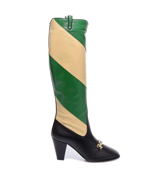 Item - Black/Light Yellow/Green Horsebit Zummi Gg Striped Knee-high Boots/Booties Size EU 36 (Approx. US 6) Regular (M, B)
