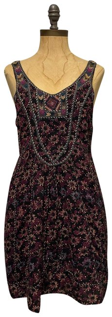 Item - Black Multi Floral Print Beaded Short Casual Dress Size 4 (S)