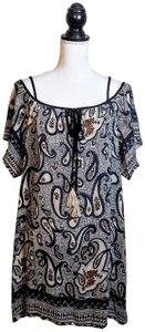 Anthropologie short dress Black, White, Paisley Boho Offshoulder Flowy Loose on Tradesy