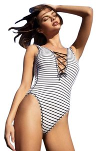 Robin Piccone Robin Piccone Sailor Stripe Lace Up One Piece