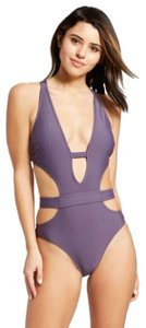 Xhilaration Women's Cut-Out Plunge One Piece - Xhilaration - Steel Blue - L
