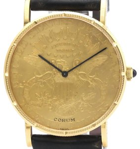 Corum CORUM Coin Watch $20 18K Gold Leather Hand-Winding Mens Watch Watch
