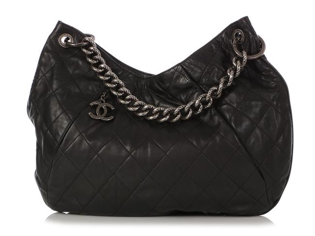 Item - Coco Pleats Large Quilted Black Calfskin Leather Hobo Bag
