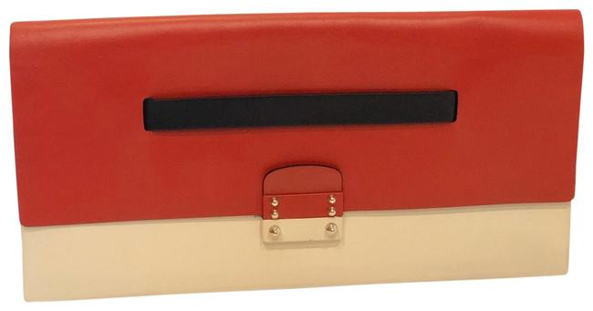 Item - Colorblock Red White Black Leather Clutch