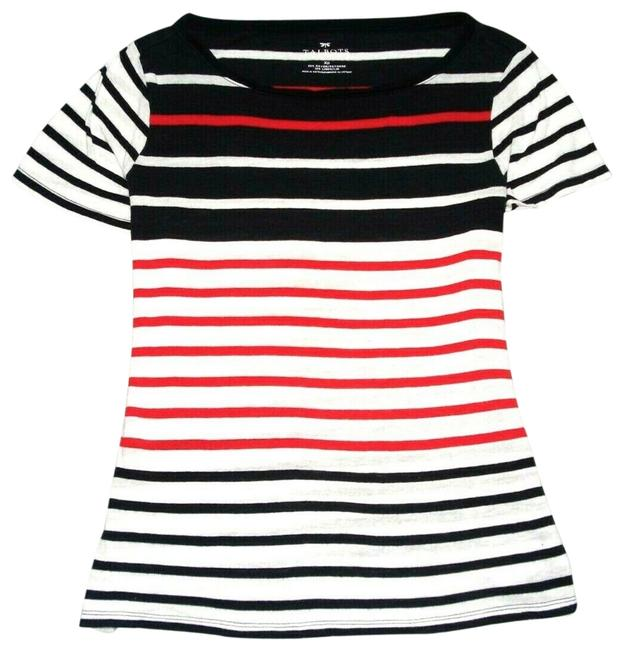 Item - Navy Red Sleeve Knit White Striped Linen Blend Xp Tee Shirt Size Petite 14 (L)
