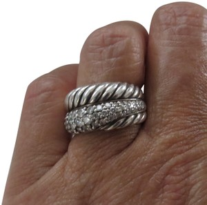 David Yurman Crossover Collection SS Diamond Crossover Cable Wrap; 1.26 tcw