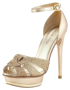 Pelle Moda Bridal Wedding Bridesmaid Party Cocktail After 5 Designer Gold Sandals