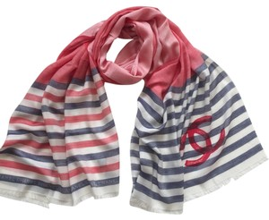 Chanel CHANEL LOGO STRIPED RED PRINT CASHMERE SILK STOLE SCARF