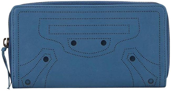 Item - Blue Perforated Calf Leather Wallet