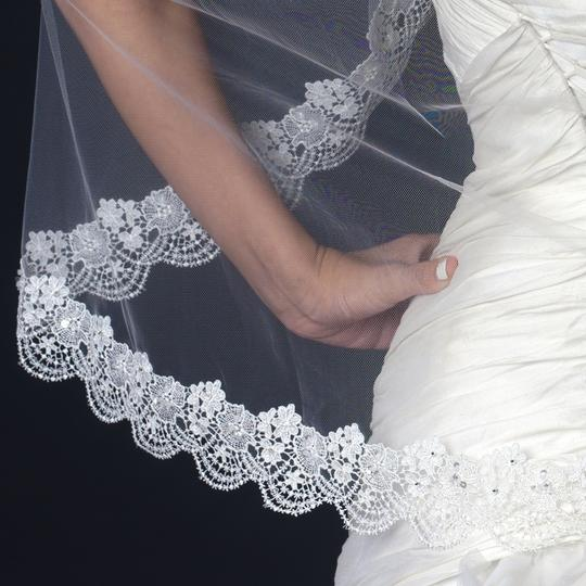 Elegance By Carbonneau Ivory Fingertip Wedding Veil With Scaliop Floral Embroidery