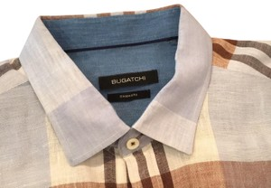 Bugatchi Button Down Shirt light blue, brown and white