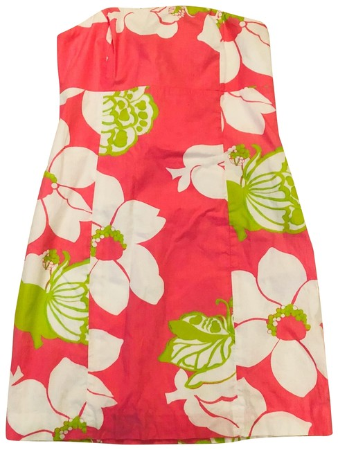 Item - Pink and Green Floral Strapless Mid-length Short Casual Dress Size 8 (M)