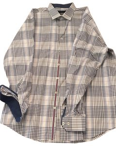 Bugatchi Button Down Shirt white and blue plaid with red accent stitching