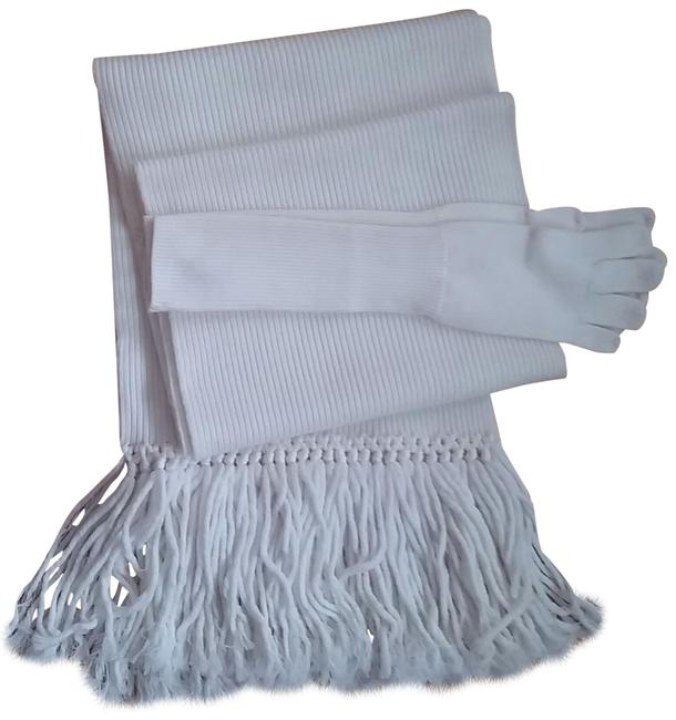 Item - Ivory W (Nwt) Wool Woven Knotted Fringe W/ Matching Gloves Scarf/Wrap