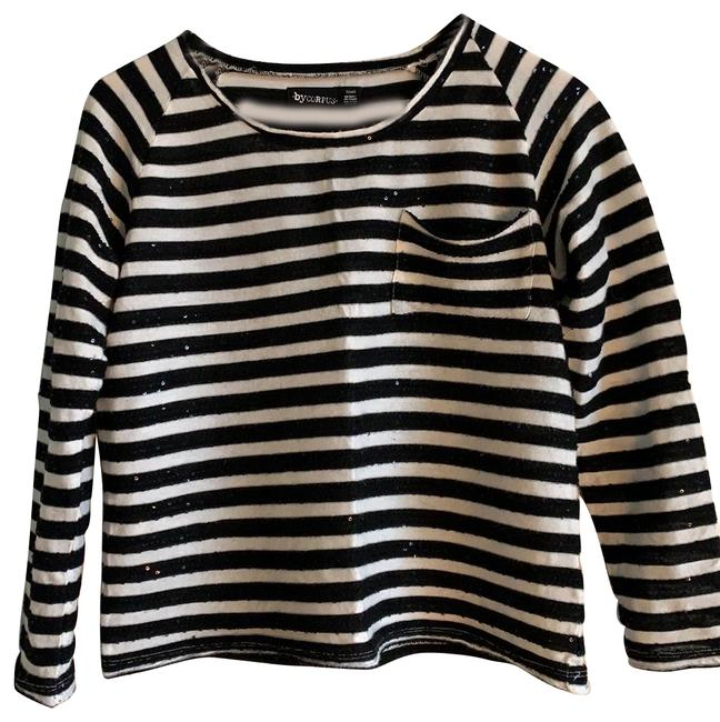 Item - Black & White Long Sleeve Sequin Knit Tee Shirt Size 4 (S)