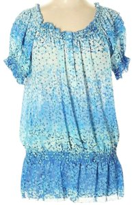 NY Collection Tunic Elastic Ruffle Floral Top Blue