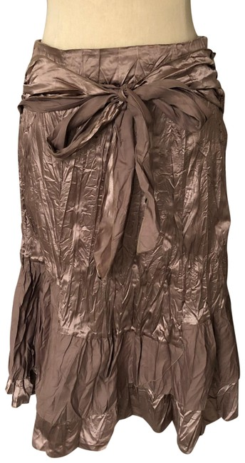 Item - Brown Crinkle Taffeta Layered Tie Front Skirt Size 4 (S, 27)