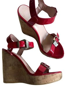 Stuart Weitzman Red Patent Wedges