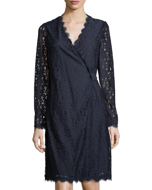 Item - Navy (Nwt) Dvf Julian Two Lace Long Sleeve Wrap Mid-length Work/Office Dress Size 8 (M)