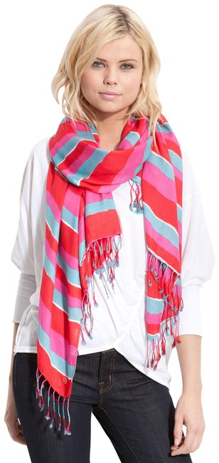 Juicy Couture Red/Pink/Blue/Orange Wavy Stripe Scarf/Wrap Juicy Couture Red/Pink/Blue/Orange Wavy Stripe Scarf/Wrap Image 1