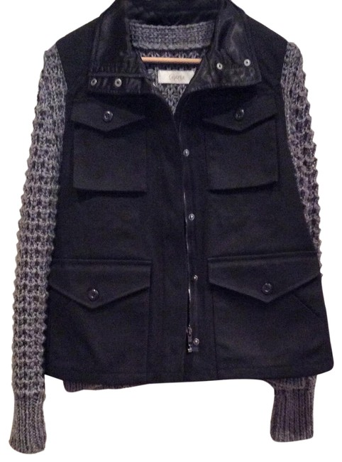 Item - Black and Gray Mixed Media Sweater Jacket Size 0 (XS)