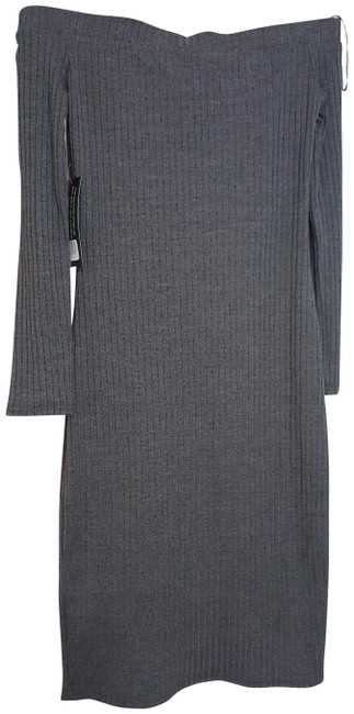 Item - Gray Girl Cindy Rib Knit Off Shoulder Midi Heather Si Mid-length Short Casual Dress Size 6 (S)
