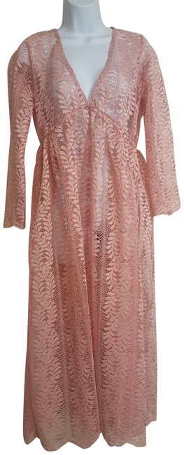 Item - Rose Hannah Premium Sheer Smocked Sleeve O Long Casual Maxi Dress Size OS (one size)