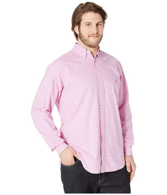 Item - Pink Long Sleeves Plaid Dress Shirts Button-down Top Size 10 (M)