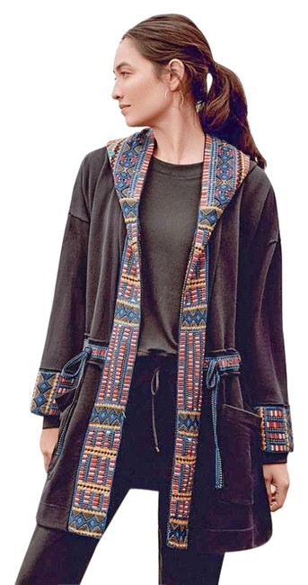 Item - Charcoal Gray Tia Tribal Embroidered Hooded Anorak Coat Jacket Size 12 (L)