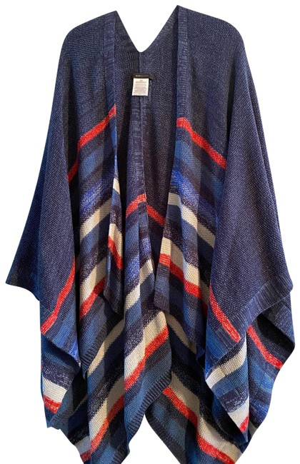 Item - Blue Red White Shawl Sweater Poncho/Cape Size OS (one size)
