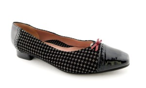 BeautiFeel Leather Slip On Patent Red Bow Ballet Black & Grey Flats