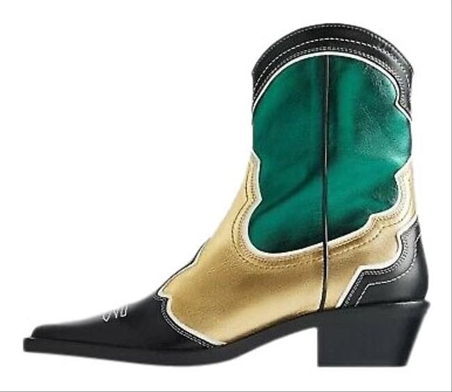 Item - Green Pieced Leather Cowboy Ankle Bootie/Boots Green/Gold/Black 6.5/37 New Boots/Booties Size US 6.5 Regular (M, B)