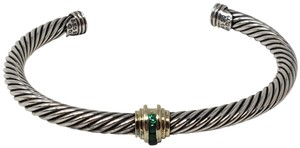 David Yurman Sterling silver David Yurman diamon emerald 14k gold station cuff