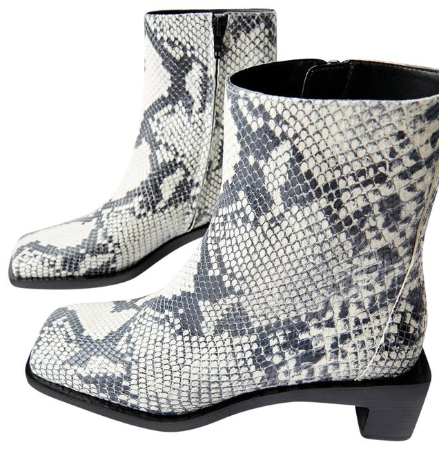 Item - Gray Heeled Leather Ankle Available In Different Colors: White and Black. Leather Upper. Wide Rectangular Mid-height Boots/Booties Size US 7.5 Regular (M, B)