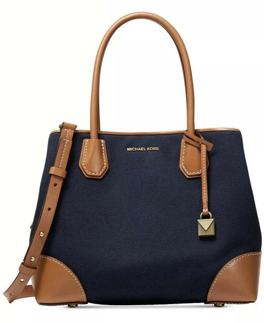 Michael Kors Shoulder Bag Mercer Gallery Medium Admiral/Gold Canvas/Leather Tote Michael Kors Shoulder Bag Mercer Gallery Medium Admiral/Gold Canvas/Leather Tote Image 1