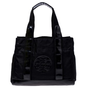 Tory Burch Nylon Patent Leather Tote in Black