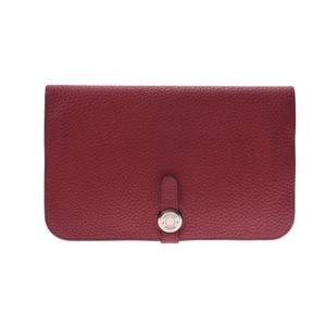 Hermes Hermes Dogon □ N Carved Seal (around 2010) Unisex Taurillon Clemence Leather Wallet Ruby