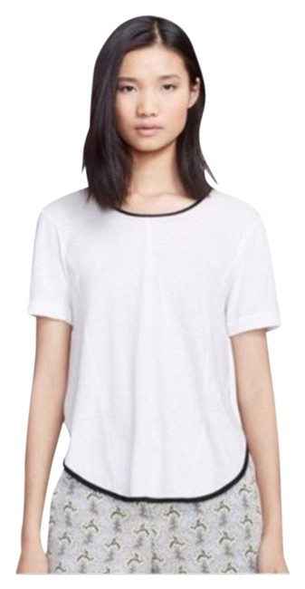 Item - White and Black Contrast Trim Tee Shirt Size 8 (M)