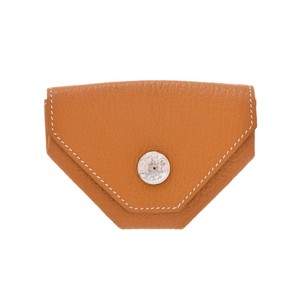 Hermes Hermes Unisex Chevre Leather Coin Purse/coin Case Natural