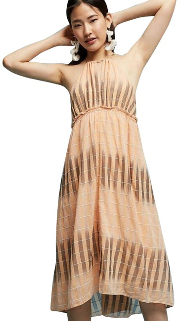 Item - Peach Akemi + Kin Ikat Halter Var Szs Mid-length Cocktail Dress Size 14 (L)
